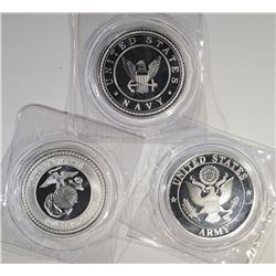 ARMY, NAVY & MARINES 1oz .999 SILVER ROUNDS