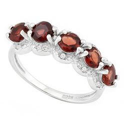 ***** FEATURE ITEM **** RING - 1 3/4 CARAT GARNETS & 2 GENUINE DIAMONDS IN 925 STERLING SILVER SETTI
