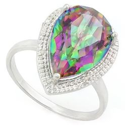 ***** FEATURE ITEM **** RING - 5 1/5 CARAT MYSTIC GEMSTONE & GENUINE DIAMONDS IN 925 STERLING SILVER