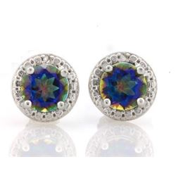 EARRINGS -  4/5 CTW OCEAN MYSTIC GEMSTONES & DIAMOND IN 925 STERLING SILVER SETTING - RETAIL ESTIMAT
