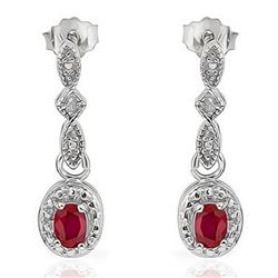 EARRINGS - 1.2 CTW RUBY & DIAMOND IN 925 STERLING SILVER SETTING - RETAIL ESTIMATE $350