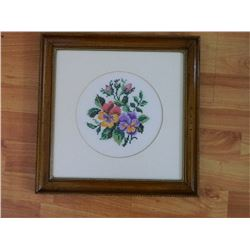 FRAMED PETTI POINT - PANSIES - RED, PURPLE, YELLOW