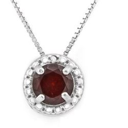 "NECKLACE - 1 CTW GARNET &  GENUINE DIAMONDS IN 925 STERLING SILVER - INCLUDES 20"" 18K GOLD OVER 925"