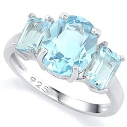 RING - 6 1/4 CARAT BABY SWISS BLUE TOPAZ IN 925 STERLING SILVER SETTING - SZ 8 - RETAIL ESTIMATE $45