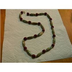 "BEADED NECKLACE - 28"" LONG  - MULTI COLOR WITH RED"