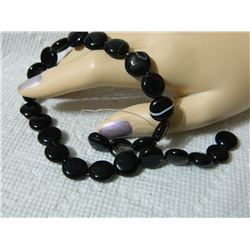 GEMSTONE BEADS - BLACK SARDONYX 11.8 mm -27 pc