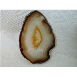 POLISHED AGATE SLICE - SMALL DRILLED HOLE AT TOP - 4""