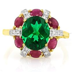 **** FEATURE ITEM **** RING - 2.17 CT RUSSIAN EMERALD & DIAMOND IN 10K YELLOW SOLID GOLD SETTING - I