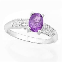 RING -  2/3 CARAT AMETHYST & DIAMOND IN 925 STERLING SILVER SETTING - SZ 7 - RETAIL ESTIMATE $350