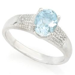 RING - 1 1/4 CARAT BABY SWISS BLUE TOPAZ & DIAMOND IN 925 STERLING SILVER SETTING - SZ 8 - RETAIL ES