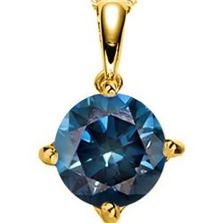 **** FEATURE ITEM **** PENDANT - 1/5 CARAT BLUE DIAMOND IN 14KT SOLID YELLOW GOLD SETTING - INCLUDES