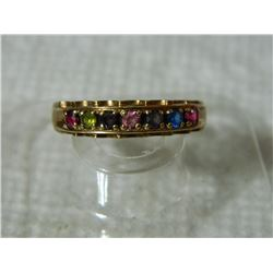 FROM ESTATE - 10K YELLOW GOLD FAMILY RING - 7 GEMS - SZ 10 - 3.5gm