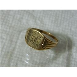 FROM ESTATE - 10K YELLOW GOLD INITIAL RING - SZ 11 1/2  - 2.9gm