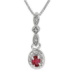 "NECKLACE - .6 CARAT RUBY & DIAMOND IN 925 STERLING SILVER SETTING - INCLUDES 20"" WHITE GOLD OVER 925"