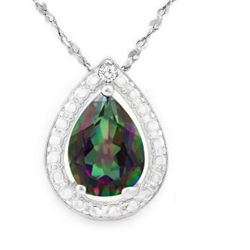 "NECKLACE - 2/5 CARAT MYSTIC GEMSTONE IN 925 STERLING SILVER SETTING - INCLUDES 20"" WHTIE GOLD OVER 9"