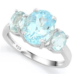 RING - 5 3/5 CARAT BABY SWISS BLUE TOPAZ IN 925 STERLING SILVER SETTING - SZ 7 - RETAIL ESTIMATE $45
