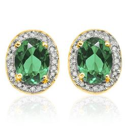 **** FEATURE ITEM **** EARRINGS - 4/5 CT RUSSIAN EMERALD & 1/4 CT DIAMOND IN 10K SOLID YELLOW GOLD S