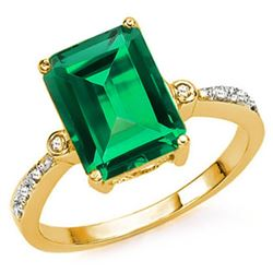 **** FEATURE ITEM **** - RING - 3.01 CT RUSSIAN EMERALD & 8 DIAMONDS IN 14K SOLID YELLLOW GOLD SETTI