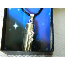 """FROM ESTATE - NECKLACE - WISHES, HOPES AND DREAMS - CAPSULE ON ROPE WITH ANGEL - CAPSULE 1.3"""" LONG ."""
