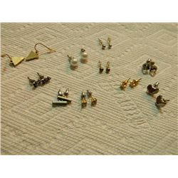 ASSORTED EARRINGS - some may be silver - 10 SETS TTL
