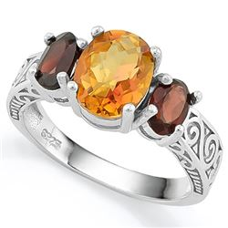 ***** FEATURE ITEM**** RING - 1 3/4 CARAT AZOTIC GEMSTONE & 2 CARAT TW GARNET IN 925 STERLING SILVER