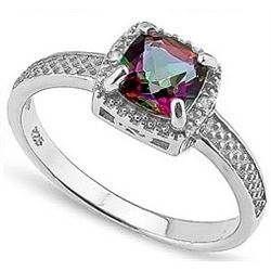 RING - 1 CARAT MYSTIC GEMSTONE & 2 DIAMOND IN 925 STERLING SILVER SETTING -  sz 6 - RETAIL ESTIMATE