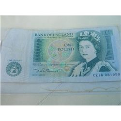 PAPER NOTE - BANK OF ENGLAND - 1 POUND - SIR ISSAC NEWTON