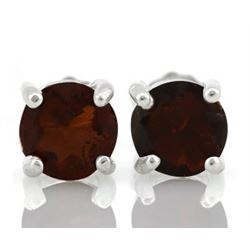 EARRINGS - 1 1/2 CARAT GARNET IN 925 STERLING SILVER SETTING - RETAIL ESTIMATE $250