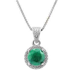 **** FEATURE ITEM **** NECKLACE - 1 1/5 CARAT ENHANCED GENUINE EMERALD S & GENUINE DIAMONDS IN 925 S