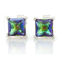 EARRINGS - 1 4/5 CTW OCEAN MYSTIC GEMSTONE IN 925 STERLING SILVER SETTING - RETAIL ESTIMATE $250