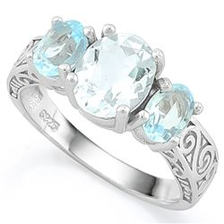 RING - 1 1/2 CARAT AQUAMARINE & 2 1/3 CARAT BABY SWISS BLUE TOPAZ IN 925 STERLING SILVER SETTING - S