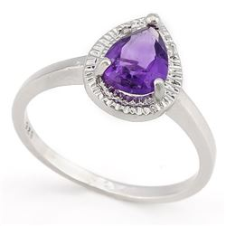 *RING - 1 1/3 CARAT AMETHYST & GENUINE DIAMONDS IN 925 STERLING SILVER SETTING - SZ 8 - INCLUDES CER