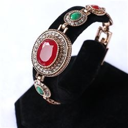 BRACELET - VINTAGE STYLE CRAFTING OF RUBY STYLE GEMS IN GERMAN STERLING SILVER SETTING WITH 18K GOLD