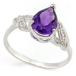 *RING - 1 1/3 CARAT AMETHYST & GENUINE DIAMONDS IN  925 STERLING SILVER  HEART DESIGNED  SETTING  -