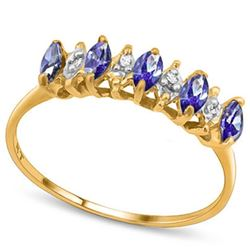 ***** FEATURE ITEM **** RING - 1/3 CTW TANZANITE(5PC) & 6 GENUINE DIAMONDS IN 10KT SOLID YELLOW GOLD
