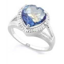 RING - 2 4/5 CARAT HEART FACETED VIOLET MYSTIC GEMSTONE & 2 GENUINE DIAMONDS IN 925 STERLING SILVER