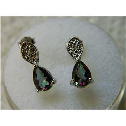 EARRINGS - PEAR FACETED MYSTIC TOPAZ & DIAMONDS IN STERLING SILVER SETTING - INCLUDES CERTIFICATE $3