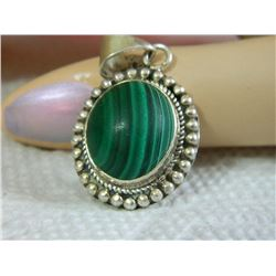 "PENDANT - GREEN MALACHITE CABACHON GEMSTONE IN STERLING SILVER VICTORIAN DESIGNED SETTING - 1"" TALL"
