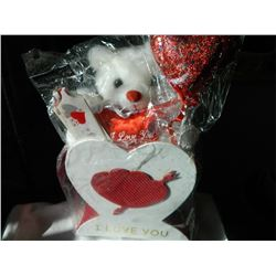"VALENTINE TEDDY BEAR GIFT BOX - INCLUDES TEDDY, HEART STICK, BOX & HEART BOX - 12"" TALL"