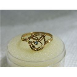 FROM ESTATE - RING - PLAYBOY BUNNY - 10K YELLOW GOLD - BLUE TOPAZ GEMSTONE EYE - 1.3 GRAM - SZ 7