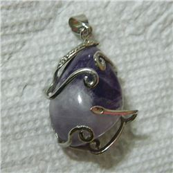 PENDANT - WIRE WRAPPED AMETHYST PENDANT - 26 X 20mm - RETAIL ESTIMATE $45