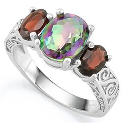 ***** FEATURE ITEM **** RING - 1 3/4 CARAT MYSTIC GEMSTONE & 2 1/5 CTW GARNET IN 925 STERLING SILVER