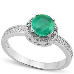 **** FEATURE ITEM **** RING - 1 1/5 CARAT ENHANCED GENUINE EMERALD S & GENUINE DIAMONDS IN 925 STERL
