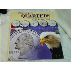 COINS - STATE SERIES COLLECTORS MAP - INCLUDES SOME QUARTERS