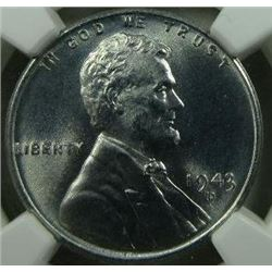 1943-D Lincoln Steel Wheat Back Cent NGC MS-67