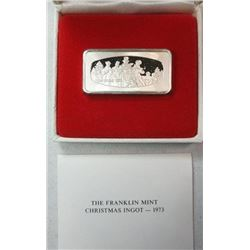 1973 THE FRANKLIN MINT CHRISTMAS INGOT PROOF STERLING SILVER BAR