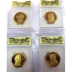2008 Proof Presidential Dollars  4 pc set