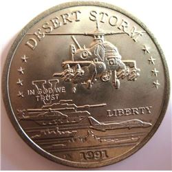 1991 $5 Dessert Storm Coin  Apache Attack Helicopter