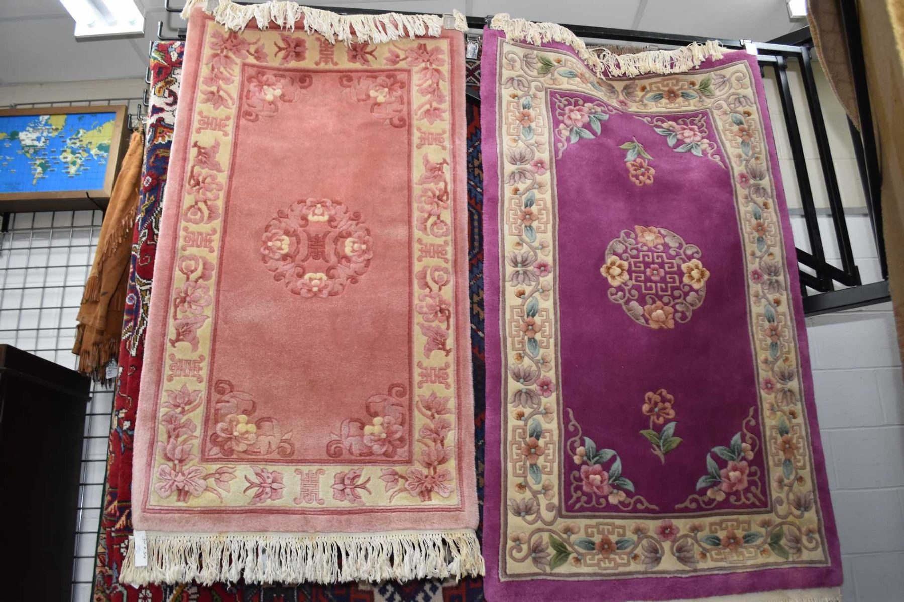Image 1 Two Oriental Style Sculpted Wool Rugs One In Shades Of Pink And