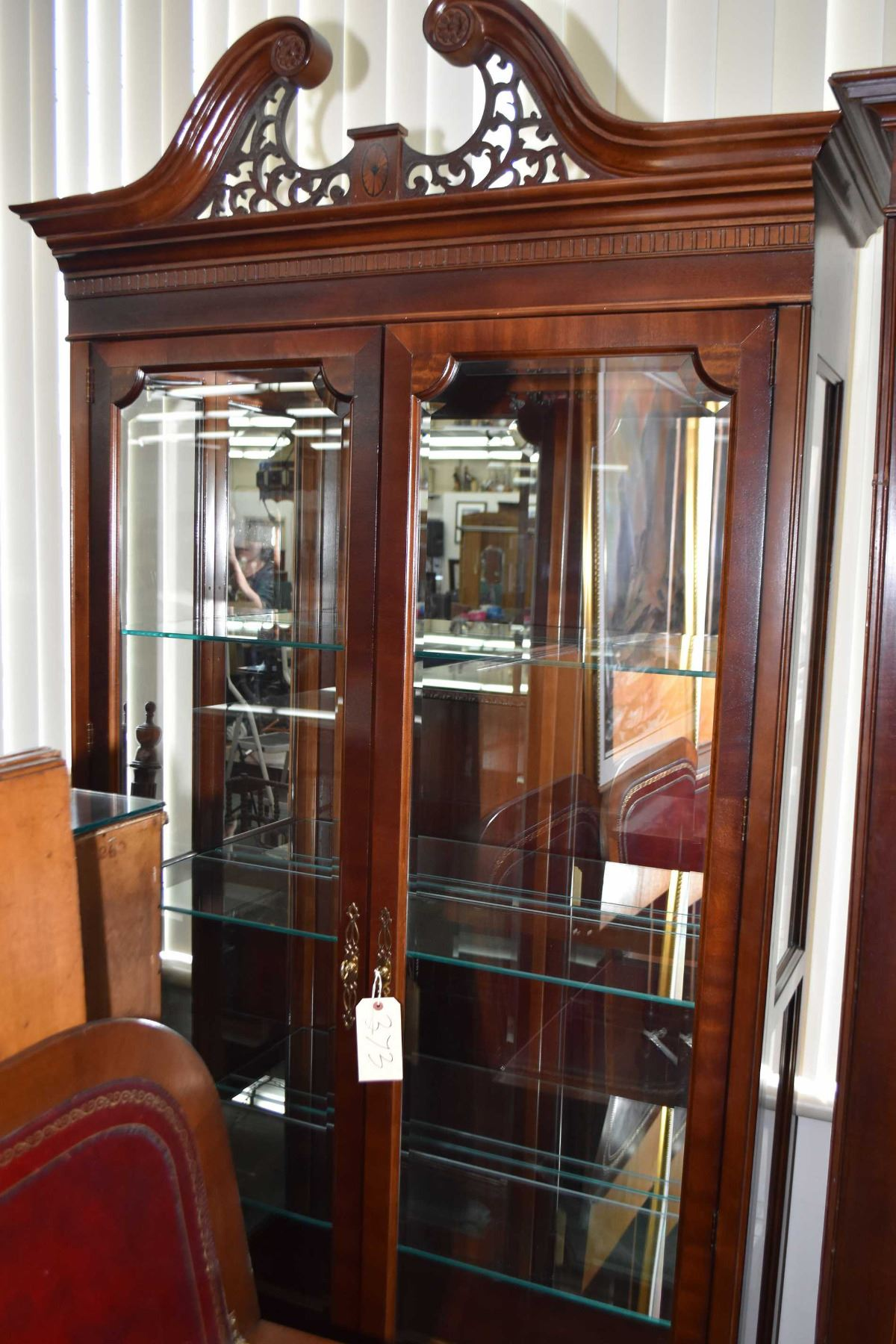 Modern Illuminated Two Door Display Cabinet With Glazed Side Panels